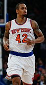 Lance Thomas of the New York Knicks in action against Milwaukee Bucks at Madison Square Garden on April 10 2015 in New York New York