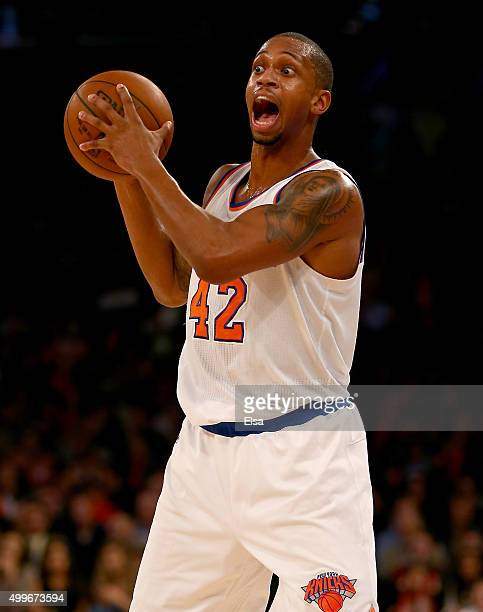 Lance Thomas of the New York Knicks looks to pass in the second half against the Philadelphia 76ers at Madison Square Garden on December 2 2015 in...