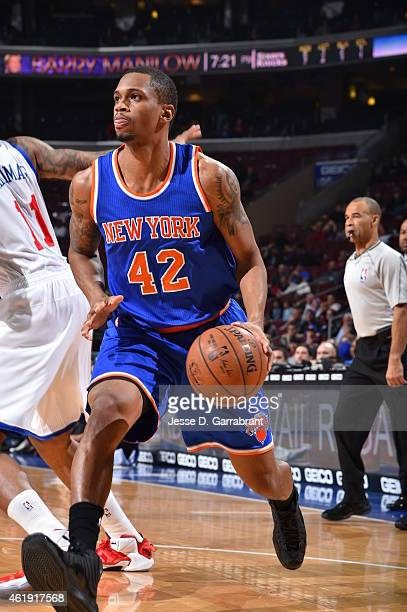Lance Thomas of the New York Knicks looks to pass the ball against the Philadelphia 76ers at Wells Fargo Center on January 21 2015 in Philadelphia...