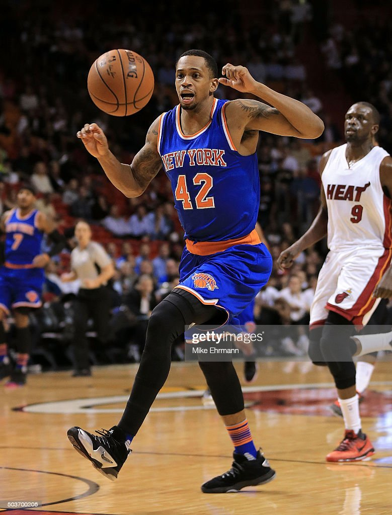 Lance Thomas of the New York Knicks misses a pass during a game against the Miami Heat at American Airlines Arena on January 6 2016 in Miami Florida...