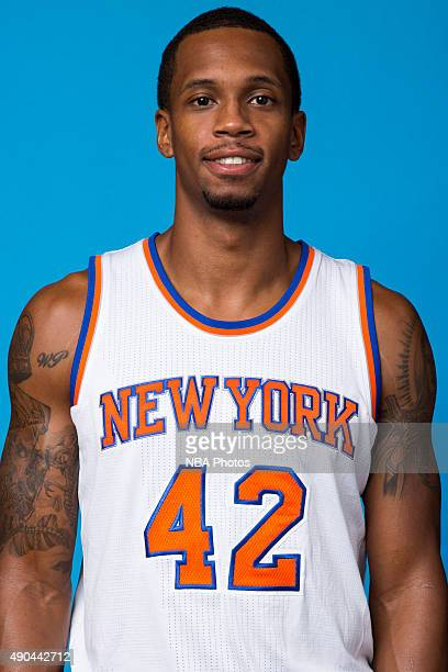 Lance Thomas of the New York Knicks poses for a head shot at media day at the MSG Training Facility in Greenburgh New York on September 28 2015 NOTE...