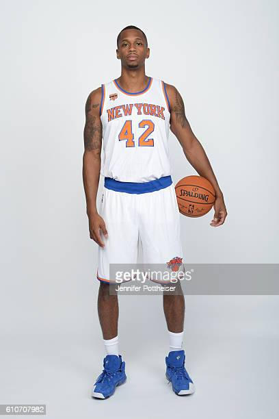 Lance Thomas of the New York Knicks poses for a portrait during media day at the Ritz Carlton in White Plains New York on September 26 2016 NOTE TO...