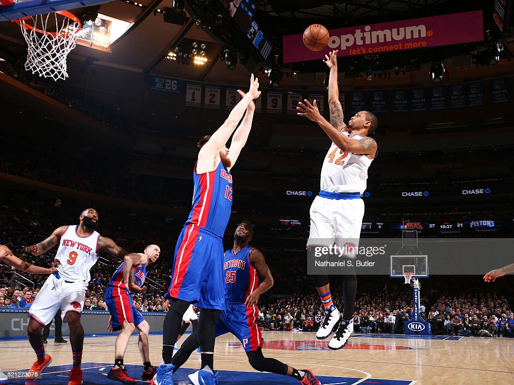 Lance Thomas of the New York Knicks shoots against the Detroit Pistons on March 5 2016 at Madison Square Garden in New York City NOTE TO USER User...