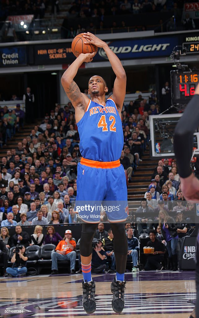 Lance Thomas of the New York Knicks shoots against the Sacramento Kings on December 10 2015 at Sleep Train Arena in Sacramento California NOTE TO...