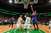 Lance Thomas of the New York Knicks shoots the ball against the Boston Celtics on March 4 2016 at the TD Garden in Boston Massachusetts NOTE TO USER...