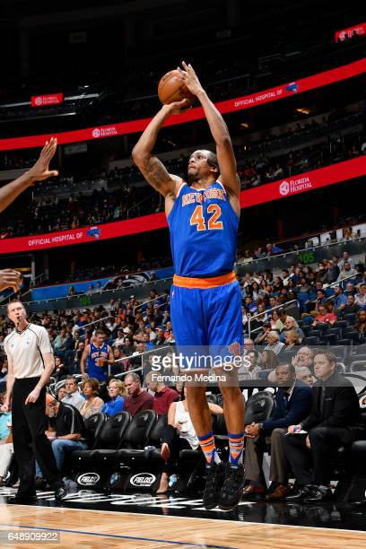 Lance Thomas of the New York Knicks shoots the ball against the Orlando Magic during the game on March 6 2017 at Amway Center in Orlando Florida NOTE...