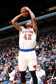 Lance Thomas of the New York Knicks shoots the ball during the game against the Minnesota Timberwolves on February 20 2016 at Target Center in...