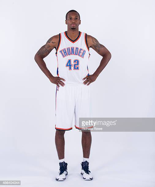 Lance Thomas of the Oklahoma City Thunder poses for a portrait during 2014 NBA Media Day on September 27 2014 at the Chesapeake Arena in Oklahoma...