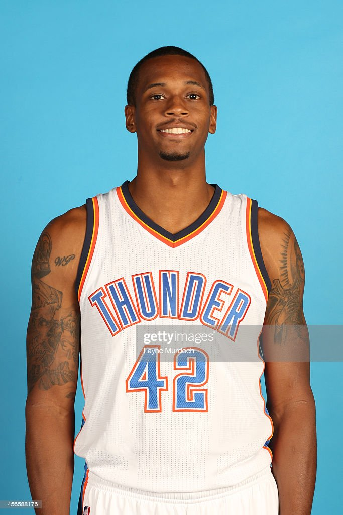 Lance Thomas of the Oklahoma City Thunder poses for a portrait during 2014 NBA Media Day on September 29 2014 at the Thunder Events Center in Edmond...