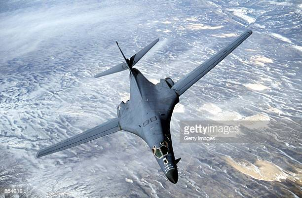 A B1B Lancer from the US Air Force 28th Air Expeditionary Wing heads out on a combat mission in support of strikes on Afghanistan in this image...