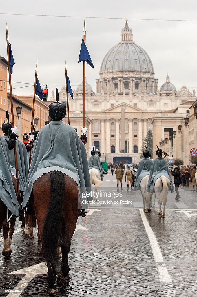 Lancers of Montebello ride their horses as they arrive in front of the Saint Peter Basilica, during a traditional day of blessing of the animals, on January 17, 2013 in Vatican City, Vatican. Every year, during the feast of St. Anthony the Abbot, the traditional blessing of the animals is celebrated.