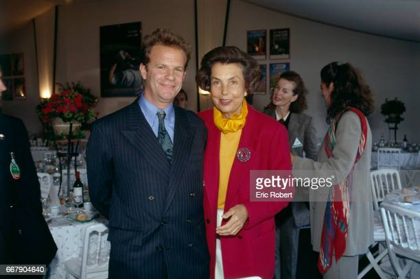 Lancome CEO Liliane Bettencourt and photographer François Marie Banier attend theTrophy 1992 Ceremony which is held at the golf course of Saint Nom...