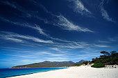 Land and seascape in Wineglass Bay in Tasmania, Australia