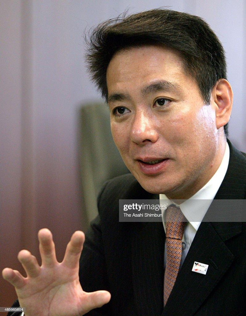Land Infrastructure and Transport Minister Seiji Maehara speaks during the Asahi Shimbun interview on December 7 2009 in Tokyo Japan