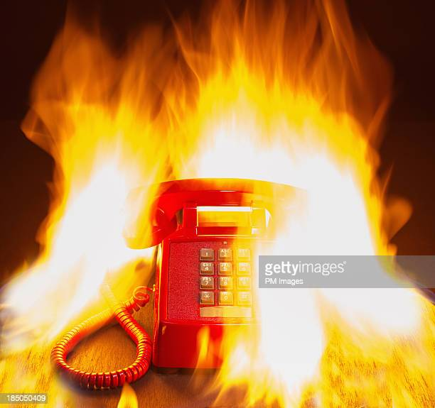 Land line phone on fire