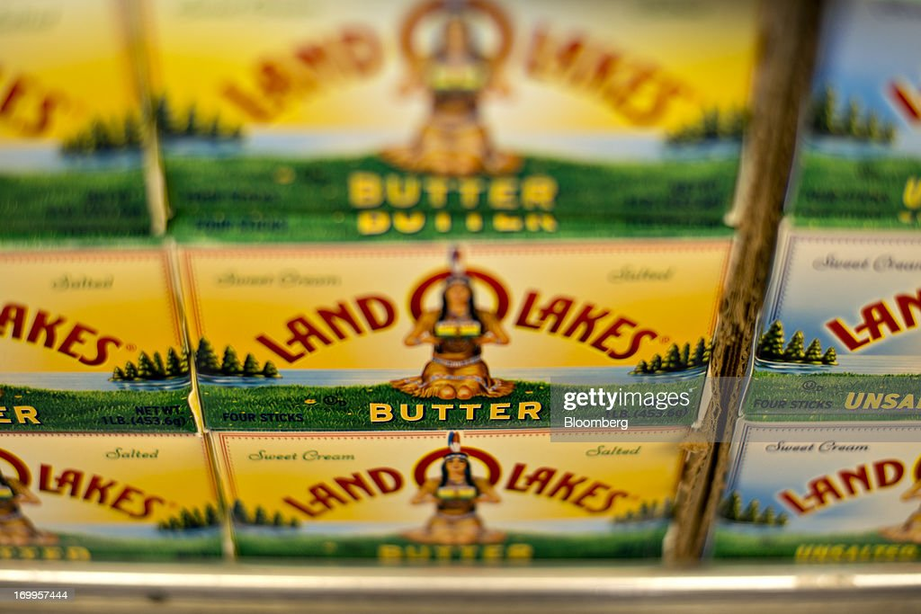 Land O' Lakes Inc. brand butter sits on display at a supermarket in Princeton, Illinois, U.S., on Tuesday, June 4, 2013. The Food and Agriculture Organization of the United Nations will release its monthly food price index on June 6. The index, a measure of the monthly change in international prices of a basket of food commodities, consists of the average of five commodity group price indices including meat, dairy, grains, oil and sugar. Photographer: Daniel Acker/Bloomberg via Getty Images