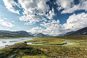 Landscape in Northern Sweden, hiking along the Kungsleden.