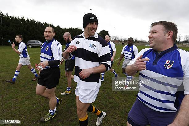 Land Rover ambassador Kelly Brown talks to the Racal Decca RFC players during the launch of the Land Rover Rugby World Cup 2015 'We Deal In Real'...