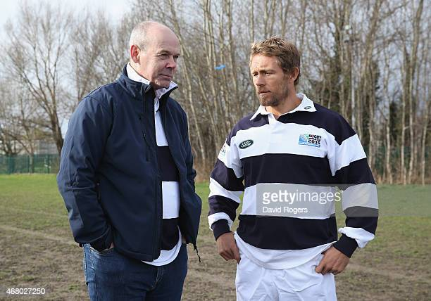 Land Rover ambassador Sir Clive Woodward talks to Jonny Wilkinson during the launch of the Land Rover Rugby World Cup 2015 'We Deal In Real' campaign...