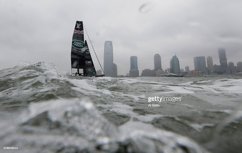 Land Rover Bar Great Britain sails during their practice race at the Louis Vuitton America's Cup World Series Racing on May 6, 2016 in New York City.