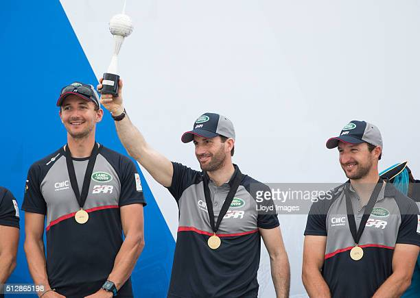 Land Rover BAR led by Ben Ainslie celebrate winning The Louis Vuitton Americas Cup World Series on February 28 2016 in Muscat Oman
