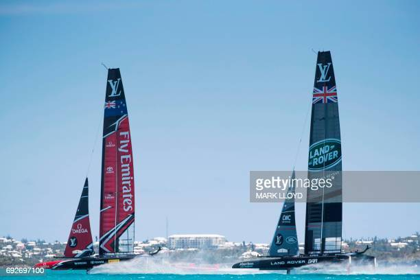 Land Rover BAR races Emirates Team New Zealand in the 35th America's Cup Challenger Playoffs Semifinals on June 5 on Bermuda's Great Sound Land Rover...