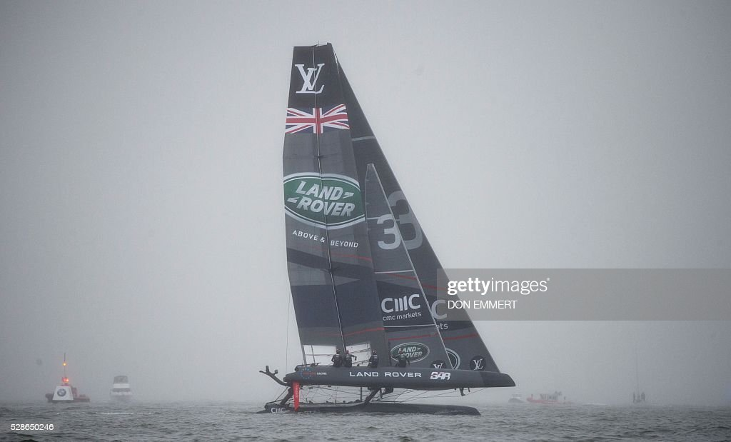 Land Rover BAR sails during practice for the Louis Vuitton America's Cup World Series New York May 6, 2016 in New York. / AFP / DON