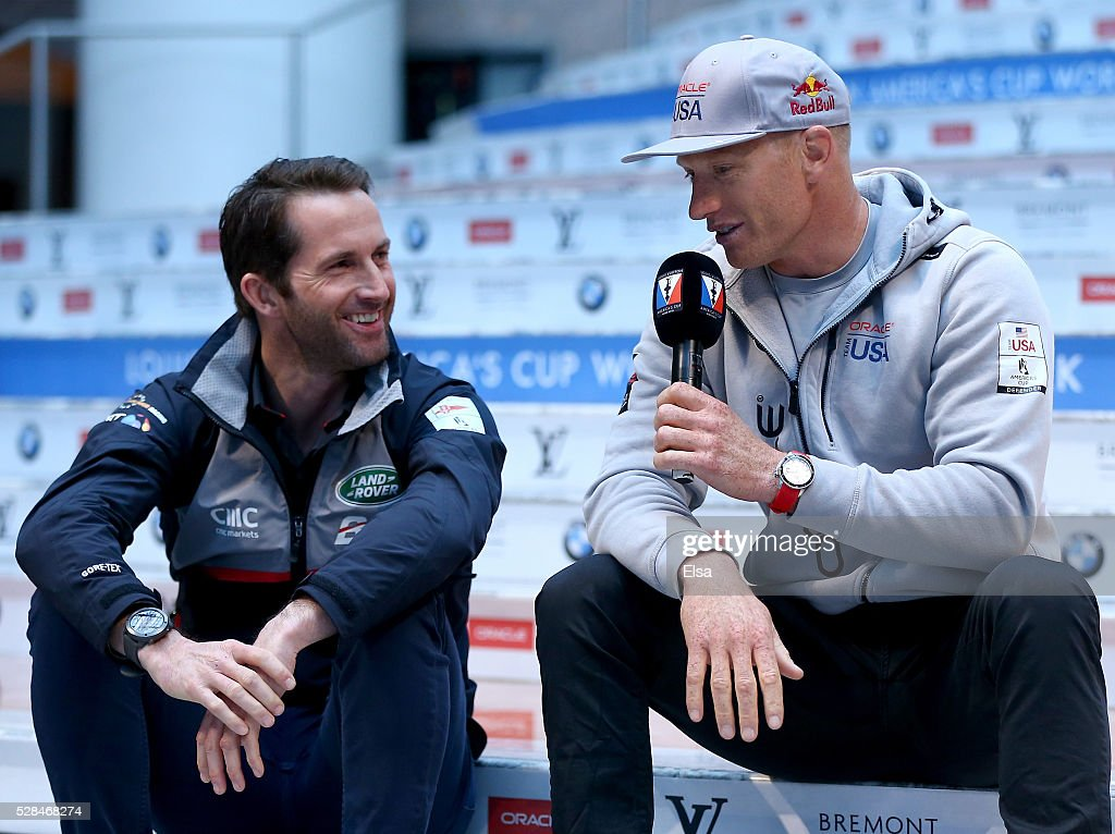 Land Rover Bar skipper <a gi-track='captionPersonalityLinkClicked' href=/galleries/search?phrase=Ben+Ainslie&family=editorial&specificpeople=208865 ng-click='$event.stopPropagation()'>Ben Ainslie</a> and Oracle Team USA skipper Jimmy Spithill speak during the Louis Vuitton America's Cup World Series Racing Skipper press conference at the Brookfield Place on May 05, 2016 in New York City.