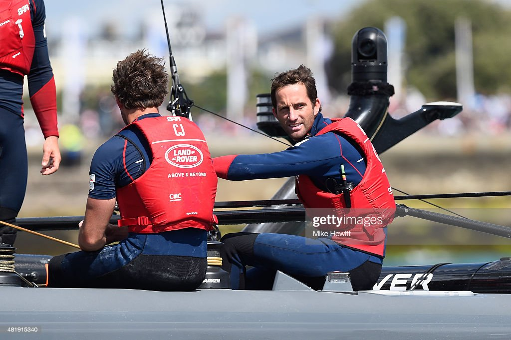 Land Rover BAR skipper Sir Ben Ainslie in action on Day Three of the Louis Vuitton America's Cup World Series on July 25, 2015 in Portsmouth, England.