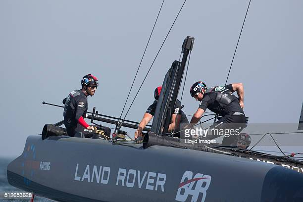 Land Rover BAR skippered by Ben Ainslie of Great Britain shown here in action on day 1 of racing close to the shore during The Louis Vuitton Americas...