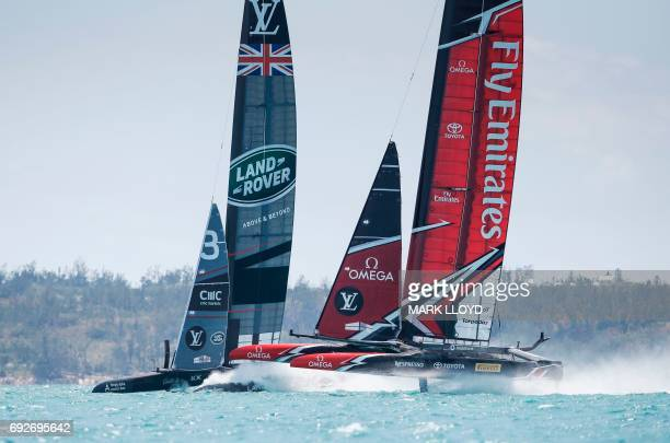 Land Rover BAR skippered by Ben Ainslie races Emirates Team New Zealand in the 35th America's Cup Challenger Playoffs Semifinals on June 5 on...