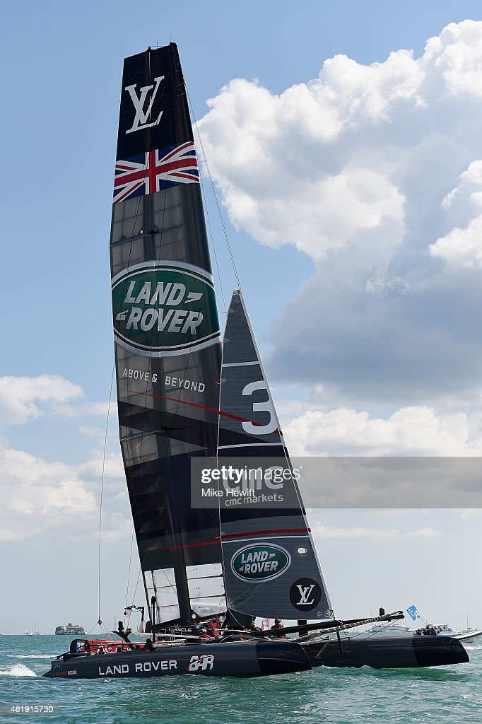 Land Rover BAR, skippered by Sir Ben Ainslie in action during Day Three of the Louis Vuitton America's Cup World Series on July 25, 2015 in Portsmouth, England.