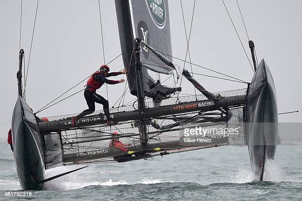 Land Rover BAR skippered by Sir Ben Ainslie in dramatic action during a trial race on Day Two of the Louis Vuitton America's Cup World Series on July...