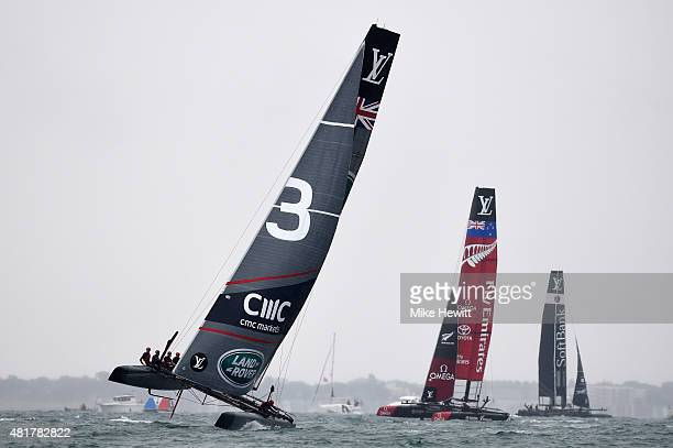 Land Rover BAR skippered by Sir Ben Ainslie lead Emirates Team New Zealand and SoftBank Team Japan during a trial race on Day Two of the Louis...