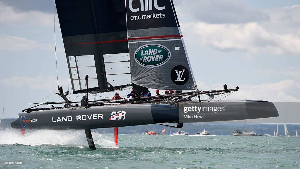 Land Rover BAR, skippered by Sir Ben Ainslie, on their way to victory in the first race during Day Three of the Louis Vuitton America's Cup World Series on July 25, 2015 in Portsmouth, England.