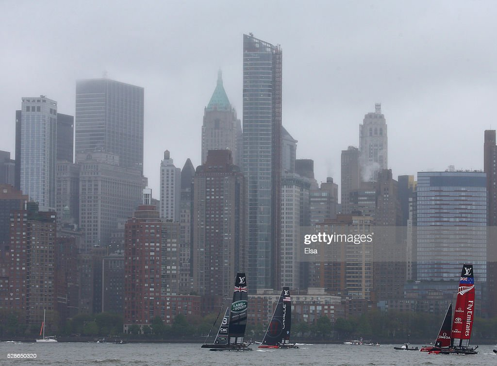 Land Rover Bar,Oracle Team USA and Emirates Team New Zealand sail the course during the practice session for the Louis Vuitton America's Cup World Series on May 06, 2016 in New York City.