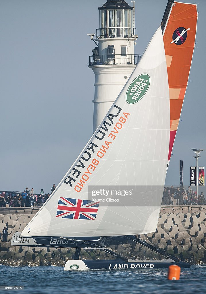 Land Rover new boat sail prior to day three of the Extreme Sailing Series on May 4, 2013 in Qingdao, China.