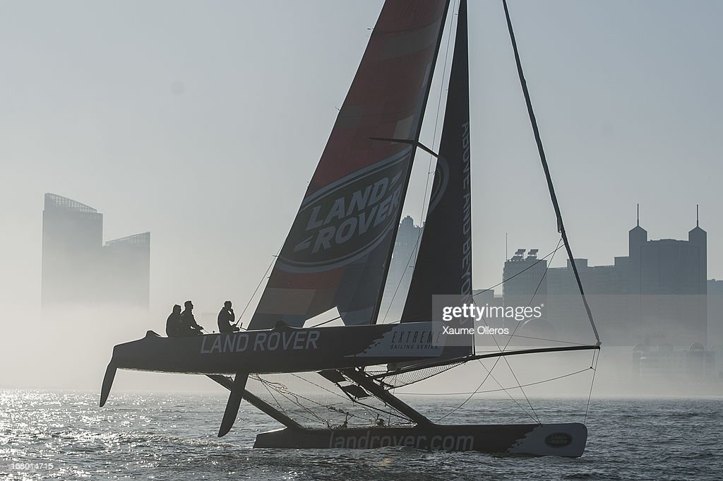 Land Rover Team in action during day three of the Extreme Sailing Series on May 4, 2013 in Qingdao, China.