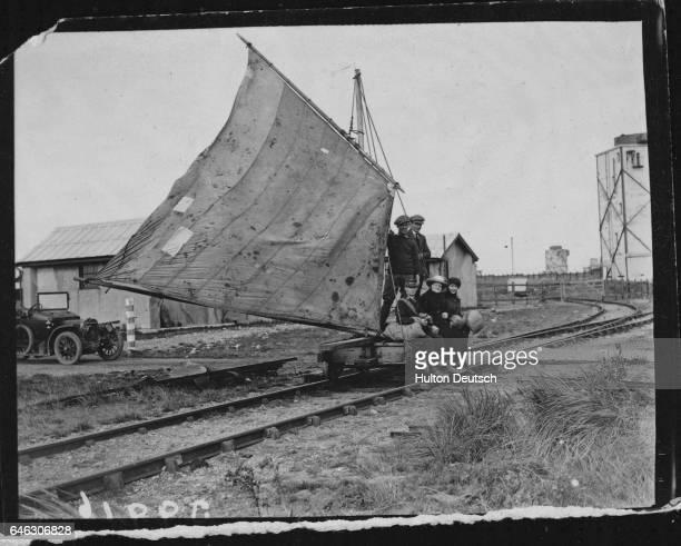 A land ship on rails at Spurn Head