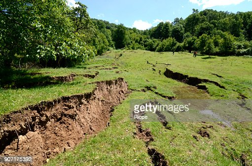 Land slides on the hill : Stock Photo
