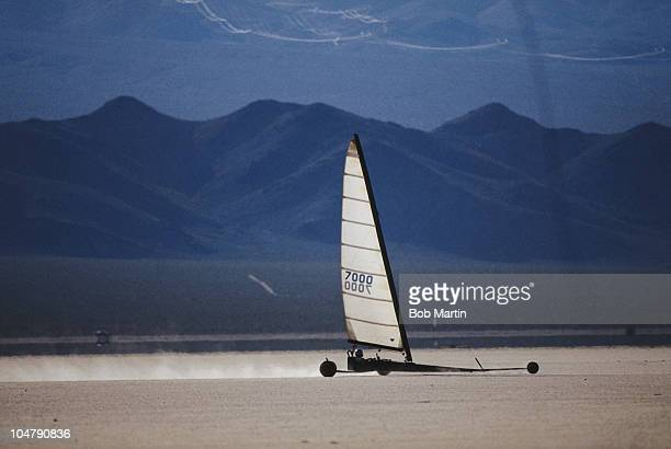 A land yachting competitor racees across the Nevada desert floor on 1st January 1990 during the Land Sailing World Championship in the Nevada Desert...