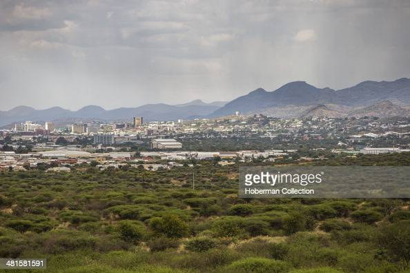Landcape Of Windhoek City With Clouds And Rain