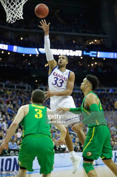 Landen Lucas of the Kansas Jayhawks shoots the ball in the first half against the Oregon Ducks during the 2017 NCAA Men's Basketball Tournament...