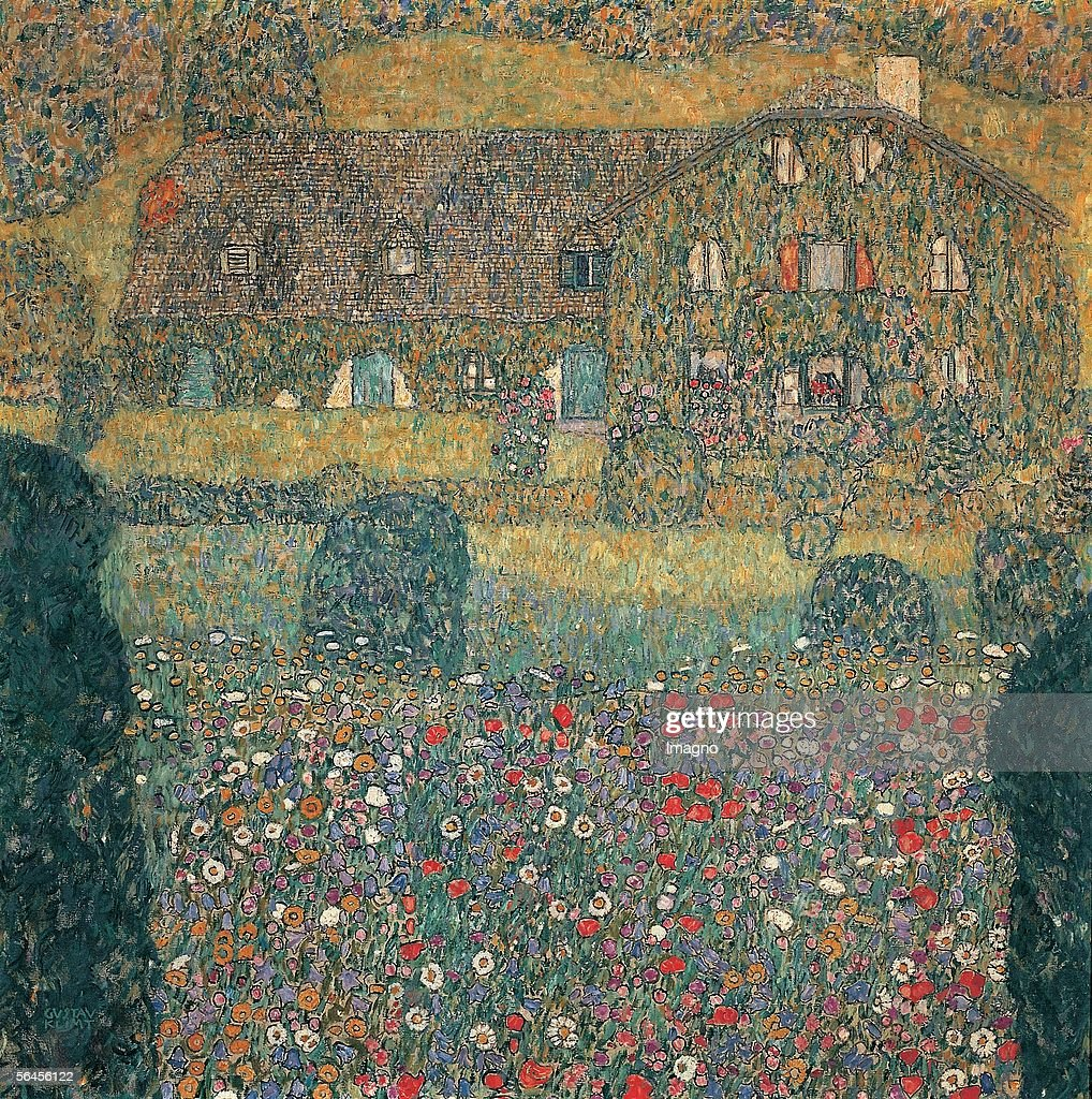 Landhaus am Attersee (Country house at the Attersee). Oil on canvas. by Gustav Klimt. Austria. Around 1914. (Photo by Imagno/Getty Images) [Landhaus am Attersee. D189. oel/Lwd. Um 1914.]
