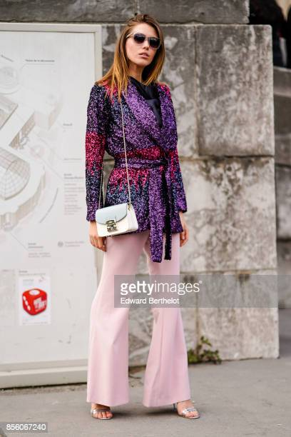 Landiana is seen outside Elie Saab during Paris Fashion Week Womenswear Spring/Summer 2018 on September 30 2017 in Paris France