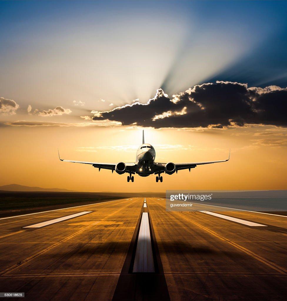 Landing at sunset