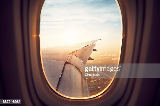 Landing at the sunrise : Stock Photo