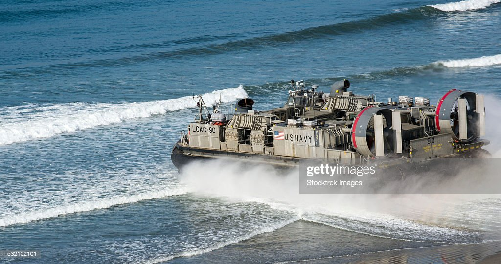Landing Craft Air Cushion carries heavy vehicles and troops.