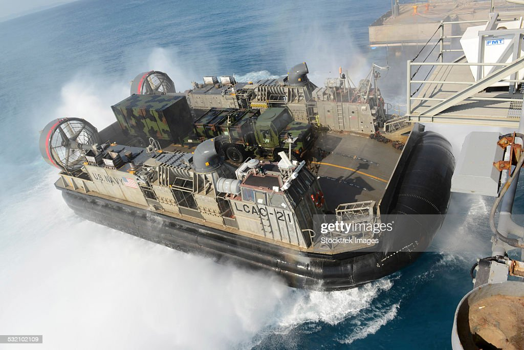 Landing Craft Air Cushion transfers equipment to USS Bonhomme Richard.