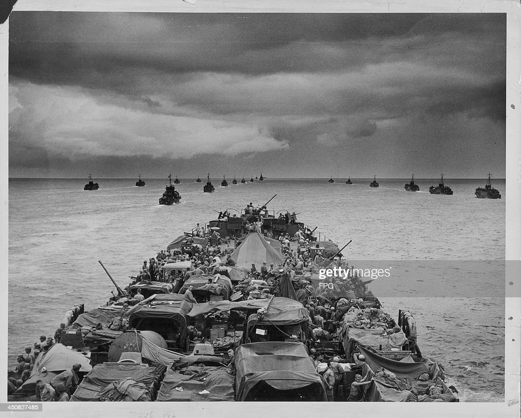 US Landing Craft Infantry and Coast Guards traveling to Cape Sansapor in amphibious vehicles as part of Operation Globetrotter during World War Two...
